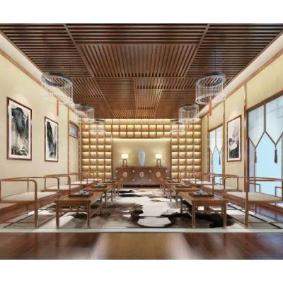 酒楼古典风格木色铝合金屏风