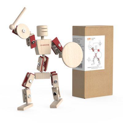 厂家直销原创木制机器人玩具摆件圣诞礼物儿童DIY拼装玩具角斗士