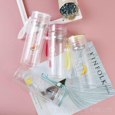 厂家直销夏日清新花茶杯耐高温日用品玻璃杯手提绳便携式水杯批发