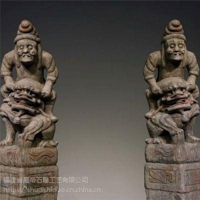 惠安石雕生产厂家 仿古石雕拴马桩雕刻定制 古建石材酒店装饰摆件