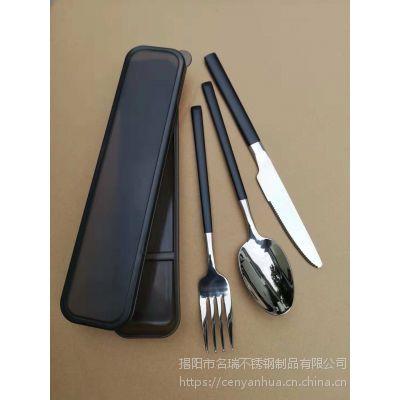 加厚304不锈钢叉勺筷牛排刀叉、旅行餐具套装礼品、 名瑞餐具厂批发