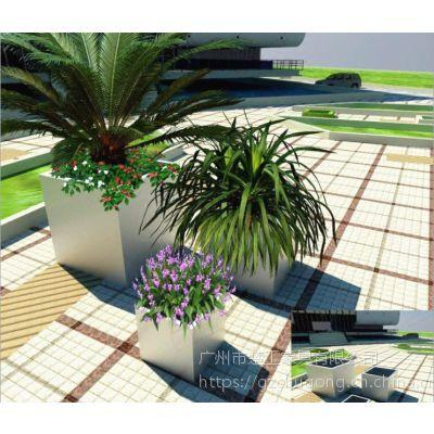 广州不锈钢景观花器-304#不锈钢填土种植花箱