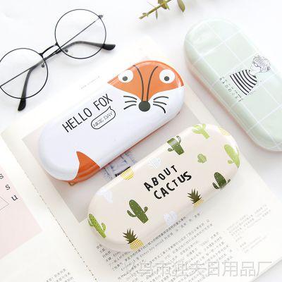 送眼镜布 韩国小清新马口铁眼镜盒女 卡通创意学生近视眼镜收纳盒