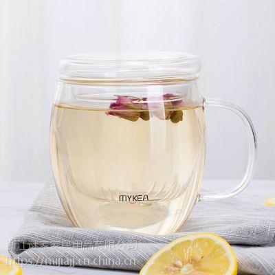谜家/MYKEA 400ml高硼硅耐热玻璃小花茶杯BB1793
