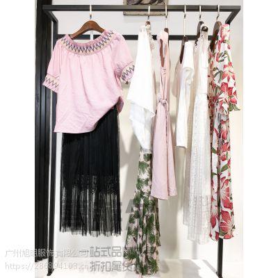 高端品牌女装库存直播货源折扣批发 灰色波点连衣裙多种款式