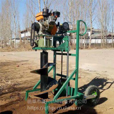 富兴种树专业打坑机 多功能车载式挖坑机 手推独轮植树打洞机型号