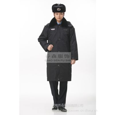 保安服冬装棉服 加厚羊绒棉保安大衣 保安服棉衣 多功能防寒保暖大衣