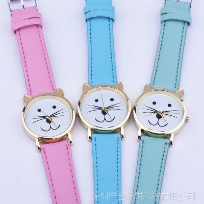 EBay 速卖通热卖 欧美流行元素 kitt手表 猫咪斜纹皮带手表