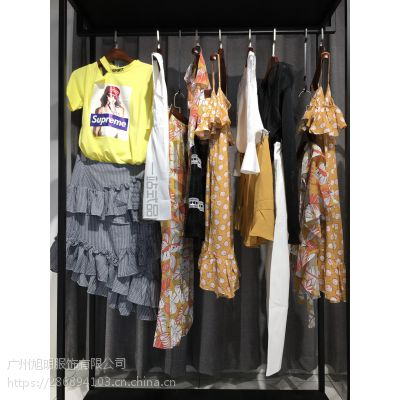 时尚品牌女装走份淘宝电商直播货源折扣批发 白色V领雪纺多种款式多