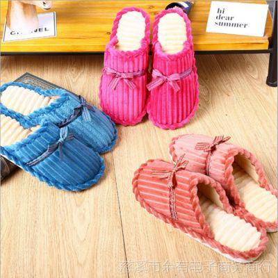 新款灯芯绒月子鞋棉拖鞋 冬季居家拖鞋防滑厚底耐磨保暖棉拖批发