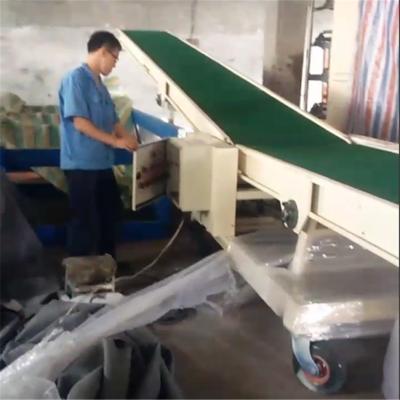 液压升降输送机可移动装车装柜用输送带传送带@防滑PVC皮带传输带德隆非标定制
