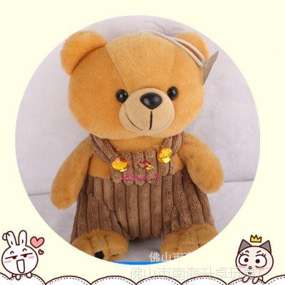 灯芯绒高档材料熊 坐姿背带裤熊 25CM中号毛绒穿衣熊 绣花工艺