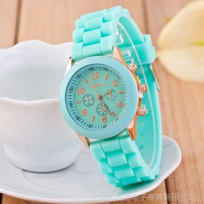 速卖通爆款 GENEVA日内瓦硅胶手表 时尚手表 三眼糖果色女士手表