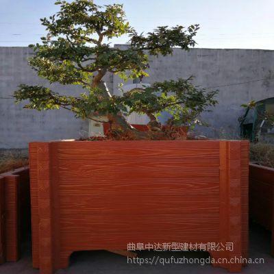 淮南市混凝土仿木花箱定制 水泥仿腐木景观园林花箱盆景