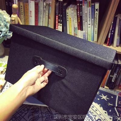 大学生装书衣物收纳箱布艺可折叠有盖衣柜储物整理盒筐学生用
