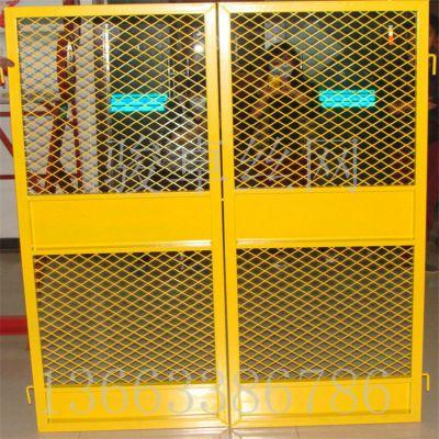 楼层施工安全门 黄色喷塑井道围栏网 加工定做警示围栏