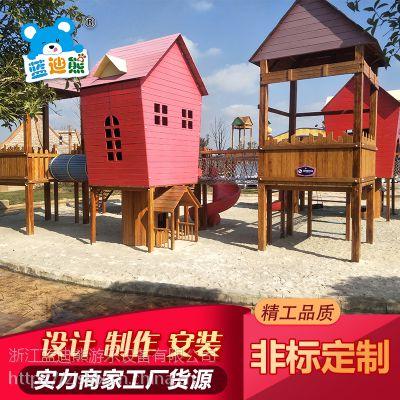 户外木质小博士滑梯 幼儿园儿童木制游乐设备 小木屋组合滑梯
