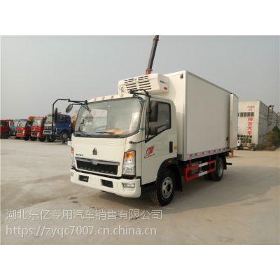 重汽豪沃4.2米冷藏车国五蓝牌厢式冷链车市内保温运输车