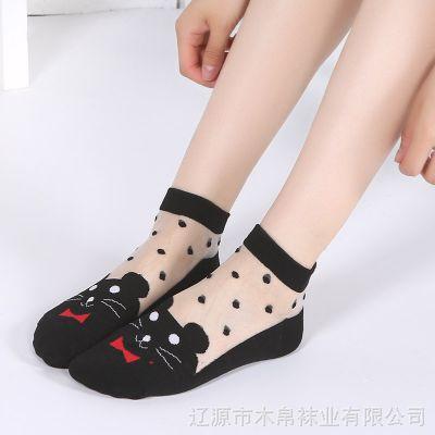 春夏棉底丝袜水晶丝袜子玻璃丝袜防勾丝韩国卡通冰丝女袜辽源袜子