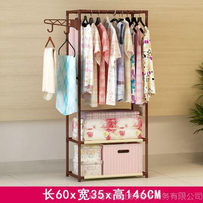 晾衣架落地卧室折叠室内晾衣杆单杆式简易衣架子挂衣架阳台凉衣架
