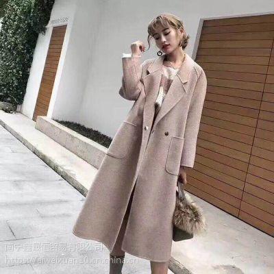 艾薇萱品牌轻奢大衣 阿尔巴卡羊驼绒大衣女装批发折扣店必备