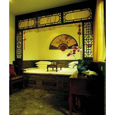 茶艺馆复古铝合金门窗花格