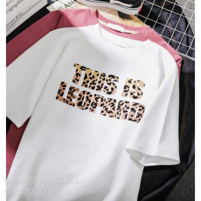 广州韩版重工T恤低价批发纯色棉t休闲百搭女装短袖学生大版T恤5元批发
