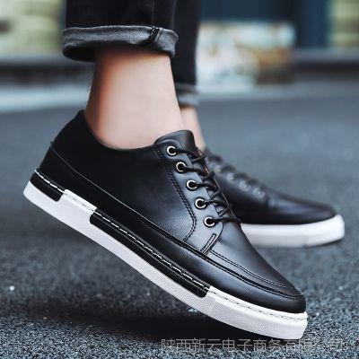2018春季布洛克男鞋潮流透气商务休闲皮鞋青年黑色英伦男士休闲鞋