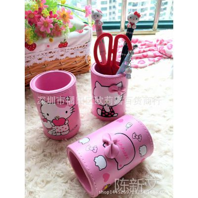 hello kitty皮革笔筒 收纳桶 粉色皮革收纳桶 凯蒂猫可爱创意笔筒