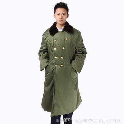 防水军绿棉大衣加厚长款保安军大衣劳保棉服冷库抗寒保暖工作大衣