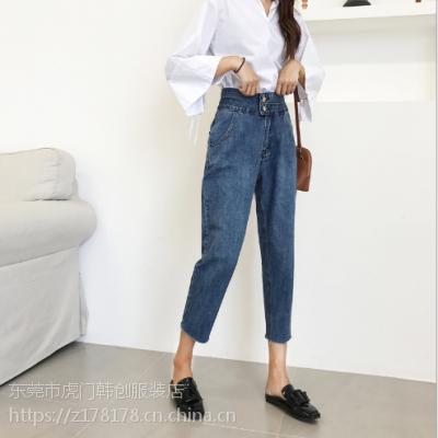哪里有低价小脚裤清仓摆地摊尾货牛仔裤便宜女装裤子批发