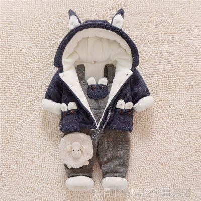 婴幼儿加绒套装0-1-2岁男宝宝加厚棉衣冬装3-6个月冬季加厚背带裤
