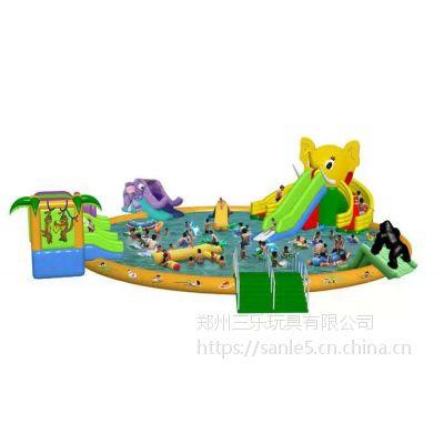 水上游乐设备大象充气水滑梯很可爱呦