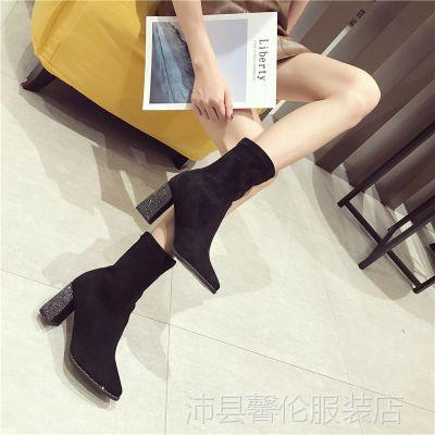 2018春秋季新款韩版百搭短靴女粗跟尖头黑色英伦显瘦弹力马丁靴子