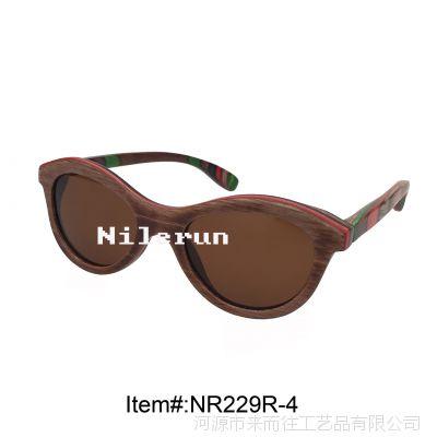 时尚潮流女款咖啡色滑板木框猫眼形太阳镜配迷彩科技木腿