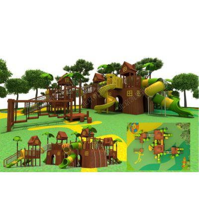 游乐场大型滑梯,木质组合滑梯,多功能木制儿童滑梯,原生态树屋滑梯 北京凯思游乐直销定制