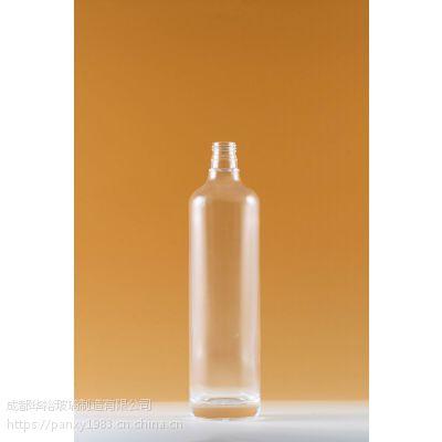 生产厂家定制晶质料玻璃酒瓶可蒙砂喷漆烤标印logo