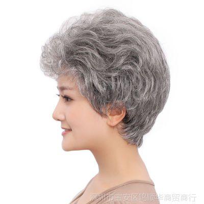 中老年女士花白假发短卷发蓬松灰白色舞台演出老太太包邮