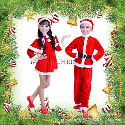 2017圣诞老人密丝绒带帽长袖男女童连衣裙圣诞节套装演出服