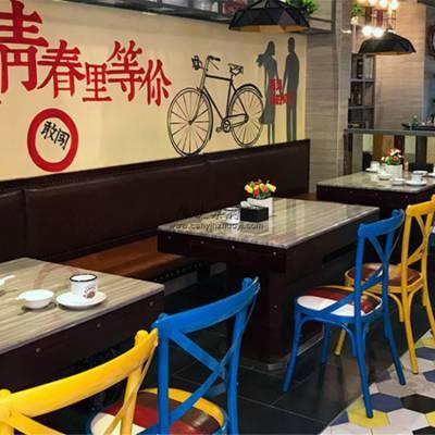 工业风主题菜馆靠墙卡座沙发桌椅定做商