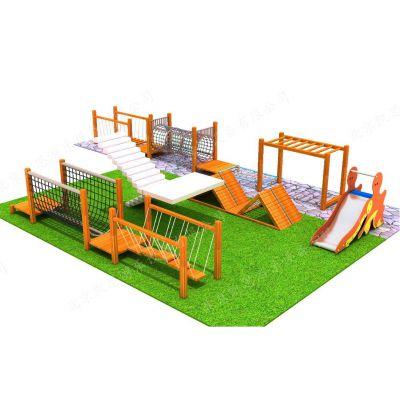 幼儿园木质组合滑梯 户外文旅拓展攀爬架 儿童乐园滑梯 无动力游乐设施 北京凯思游乐直销定制