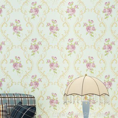 美式田园大花无纺布墙纸客厅电视背景卧室餐厅美容院会所酒店壁纸