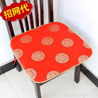 中式古典红木椅垫批发 织锦真丝沙发座垫厂家 通用绣花椅垫可定制