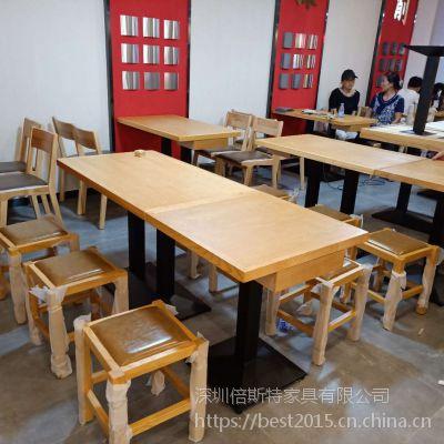倍斯特现代中式实木矮凳创意中餐快餐面馆厂家定制