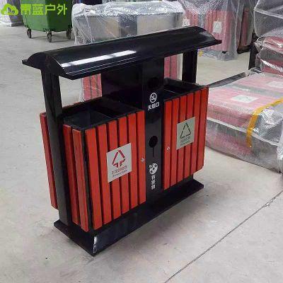 青蓝厂家供应市政工程垃圾桶 城市分类垃圾箱 钢木果壳箱