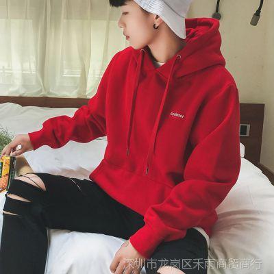 卫衣男连帽春季新款潮流时尚红色男士外套美式街头宽松套头卫衣