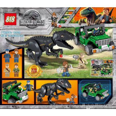 新款恐龙积木瓶装霸王龙追击人仔积木儿童益智瓶装玩具暴虐迅猛龙