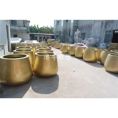 批量定制金黄色椭圆形玻璃钢花盆雕塑花草种植器具