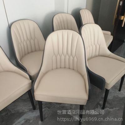 上海酒店餐厅现代餐椅 包厢简约轻奢餐桌椅金属仿木椅