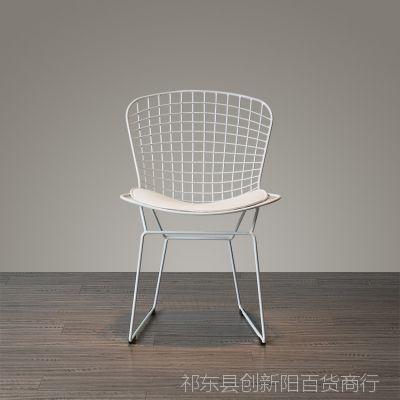 创意时尚简约铁线镂空椅子休闲椅餐椅带坐垫舒适办公椅咖啡椅
